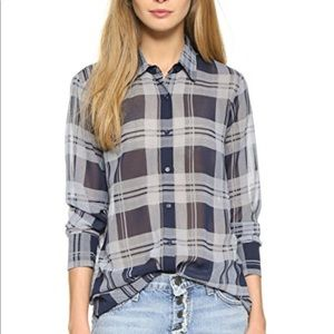 Revolve // BB Dakota // Katrina Plaid Chiffon Top